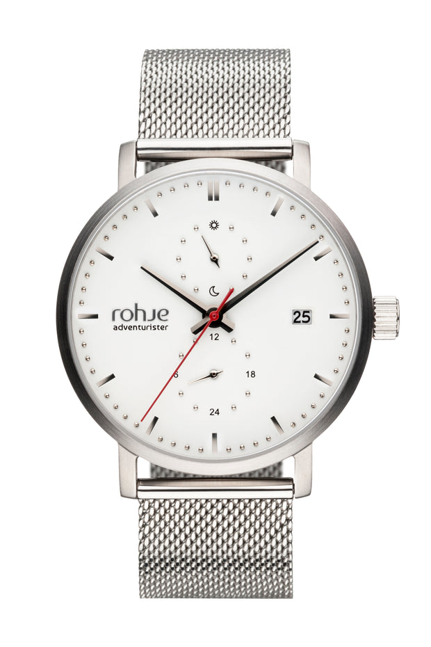 Adventurister White Watch, Silver-Tone Mesh Strap