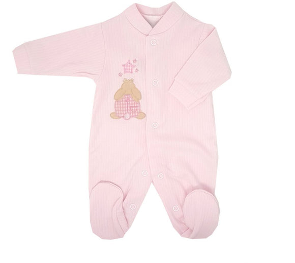 Pink Rabbit & Star Premature Baby Sleepsuit