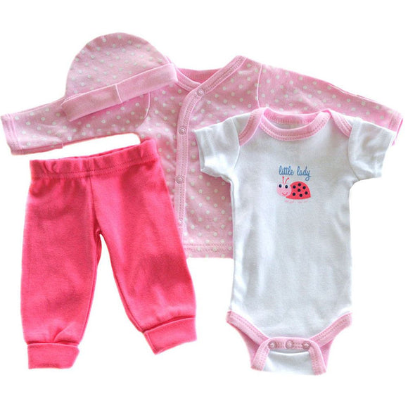 little lady pink four piece tiny baby gift set