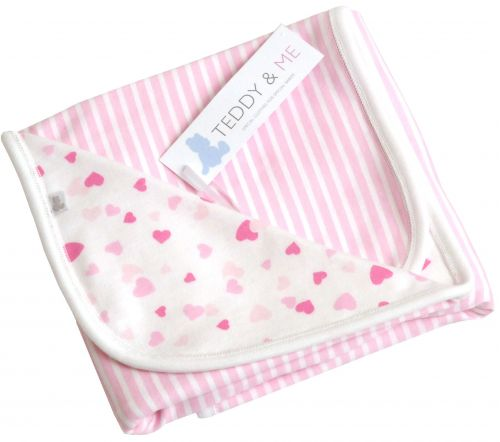 confetti hearts cotton cuddle wrap designed and manufactured in the united kingdom for teddy and me