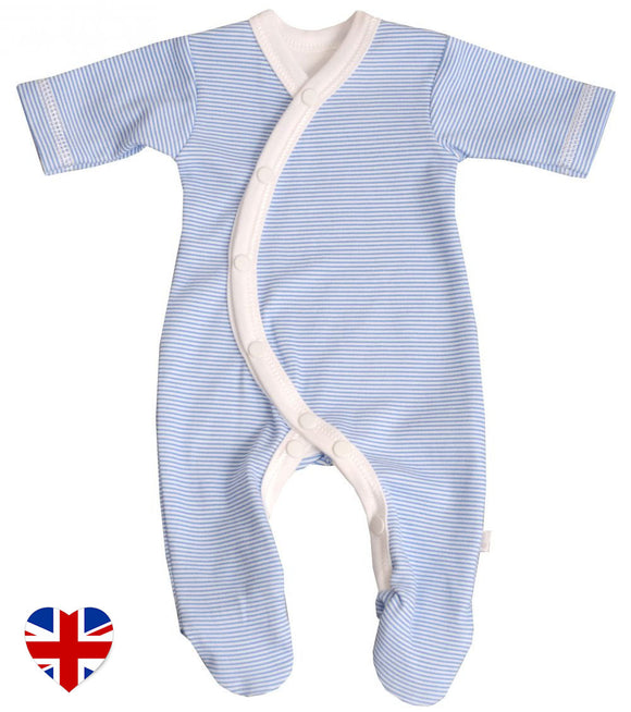 blue pinstripe sleepsuit designed to dress babies with ease. Manufactured in the united kingdom for teddy and me