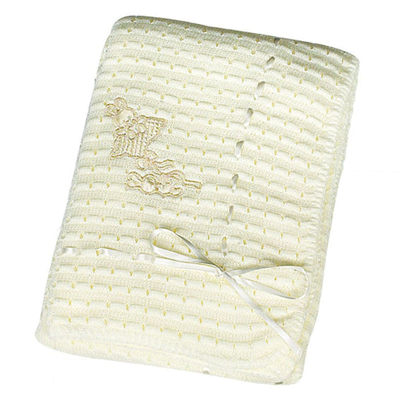 Rabbits & Ribbon Luxurious Ivory Baby Blanket