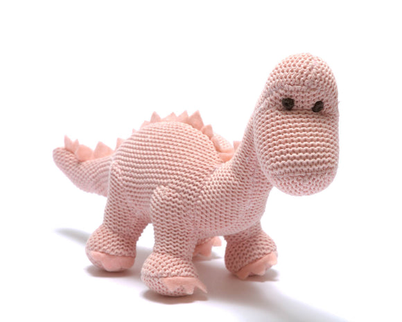 Organic Pink Knitted Dinosaur Rattle