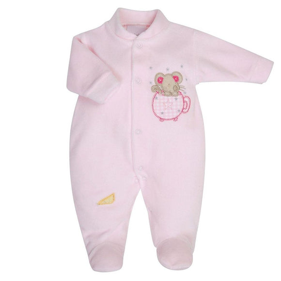 mouse in a teacup pink velour premature baby sleepsuit