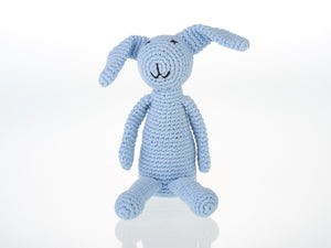 My First Crochet Blue Bunny Rattle - Pebble Toys
