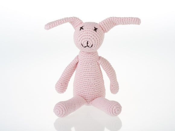 My First Crochet Pink Bunny Rattle - Pebble Toys