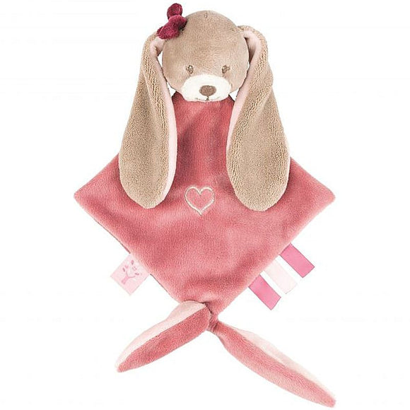 nina the rabbit by nattou,  is a mini sized comforter for a baby, suitable for a premature or tiny baby too