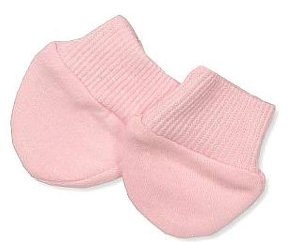 pink anti scratch mittens for a premature baby