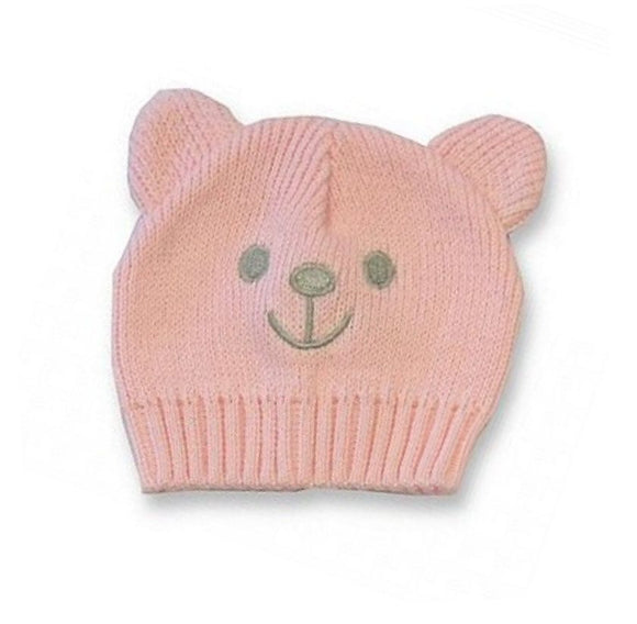 pink teddy bear knitted premature baby hat