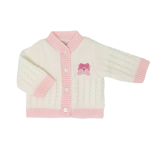 White & Pink Teddy Premature Baby Cardigan