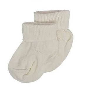 Cotton Rib Cream Turn Over Top Premature Baby Socks