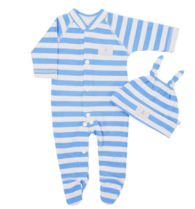 Wide Stripe Sleepsuit & Hat