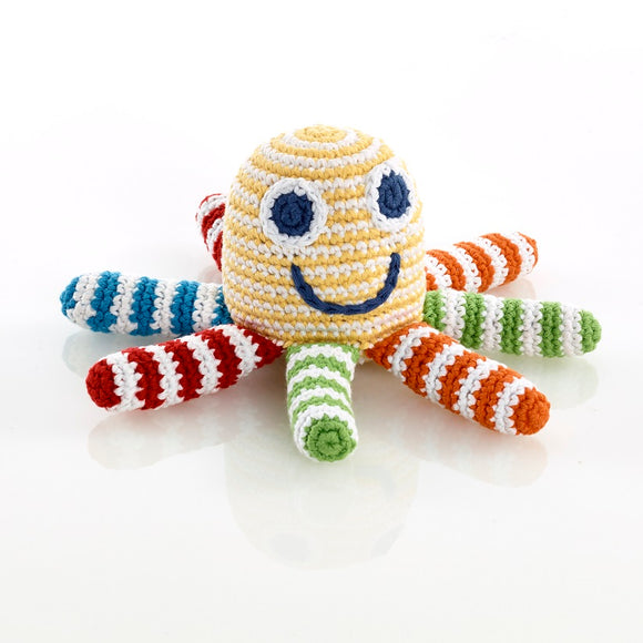 bright stripe crochet cotton octopus baby rattle