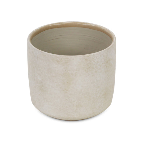 Off-white Ceramic Planter with Mosaic Pattern