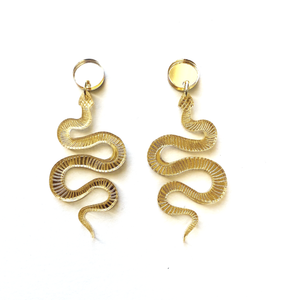 Lucite Snake Earrings-Mirrored Gold