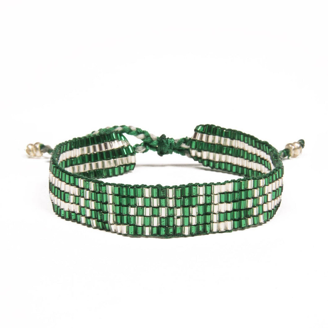 Seed Bead LOVE Bracelet - Green