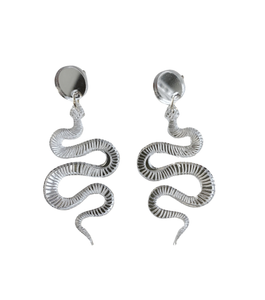 Lucite Snake Earrings-Mirrored Silver
