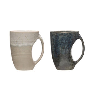 "4-1/4"" Round x 5""H 12 oz. Stoneware Mug, Reactive Glaze, 2 Colors (Each One Will Vary)"