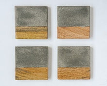 "Load image into Gallery viewer, 4"" Square Cement & Wood Coasters, Set of 4"