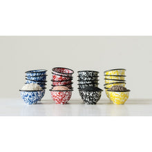 "Load image into Gallery viewer, 3"" Round Enameled Splatterware Pinch Pot, 4 Colors"