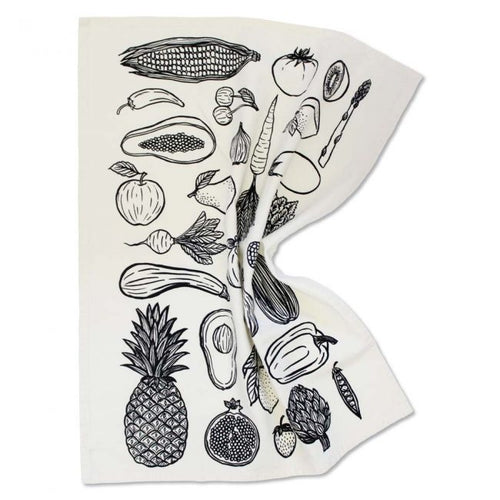 Fruit & Veggie Print Tea Towel