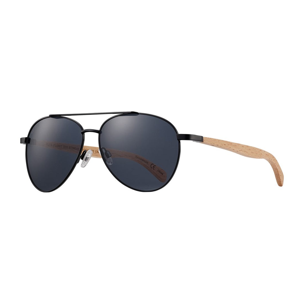 Blue Planet Sunglasses - AMADOR in Matte Black/ Natural Beechwood + Smoke Polarized Lens