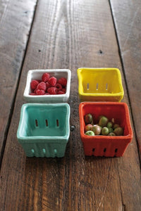 "4"" Square Stoneware Berry Basket, 4 Colors"