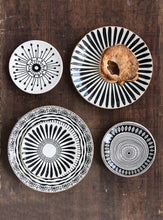 "Load image into Gallery viewer, 8-1/4"" Round Stoneware Plate, Black Pattern w/ Gold Electroplating, 4 Styles - SOLD AS SET OF 4"