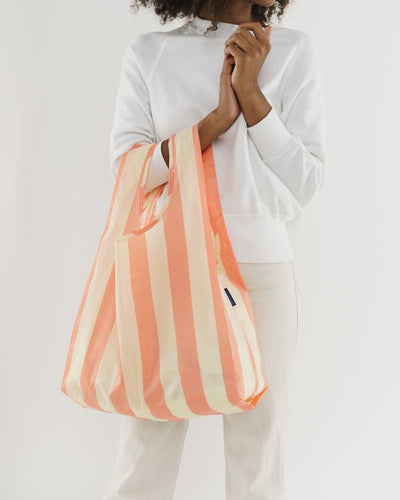 BAGGU Reusable Tote - Washed Brick Stripe