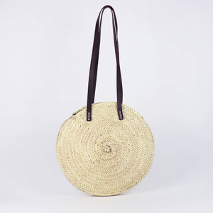 Tulum Round Straw Bag - Black