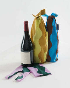 Wine BAGGU (set of 3) - Wavy Stripes