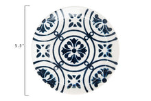 "Load image into Gallery viewer, 5-1/2"" Round Hand-Painted Stoneware Plate, Blue & White, 3 Styles - SOLD AS SET OF 3"