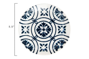"5-1/2"" Round Hand-Painted Stoneware Plate, Blue & White, 3 Styles - SOLD AS SET OF 3"