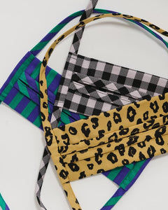 BAGGU Tie Fabric Mask Set - Gingham, Leopard, & Striped