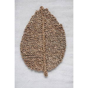 "FAVE 20""L x 13-1/2""W Woven Seagrass Leaf Shaped Placemat"