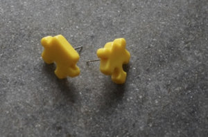 Found Studs Puzzle Piece Earrings - Yellow