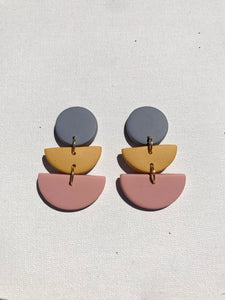 Color Block Earrings - Periwinkle/Marigold/Pink