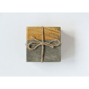 "4"" Square Cement & Wood Coasters, Set of 4"