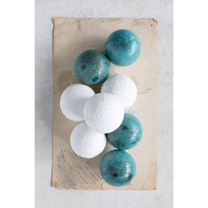 "3-1/2"" Round Coarse Terra-cotta Orb, Distressed Aqua Volcano Glaze (Each One Will Vary)"