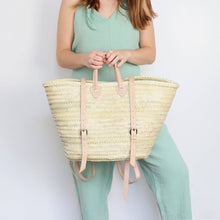 Load image into Gallery viewer, Handwoven Tokyo Straw Market Backpack - Tan