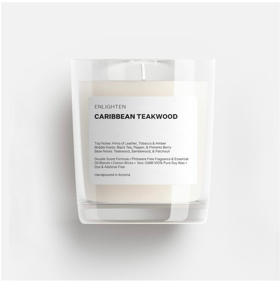 Caribbean Teakwood Glass Mini Tumbler Candle - 3oz
