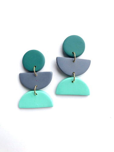 Color Block Earrings - Emerald/Mint