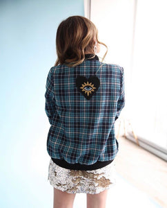 Ojo Sagrado Plaid Bomber Jacket