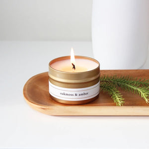 Gold Travel Candle - Oakmoss & Amber