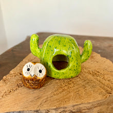 Load image into Gallery viewer, Mini Handmade Ceramic Owl & Saguaro