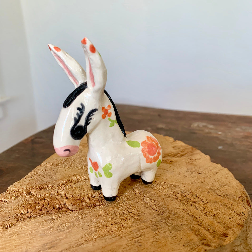 Mini Handmade Ceramic Donkey - Orange