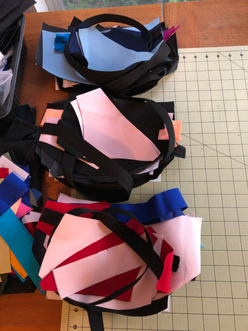 fanny pack parts ready for sewing