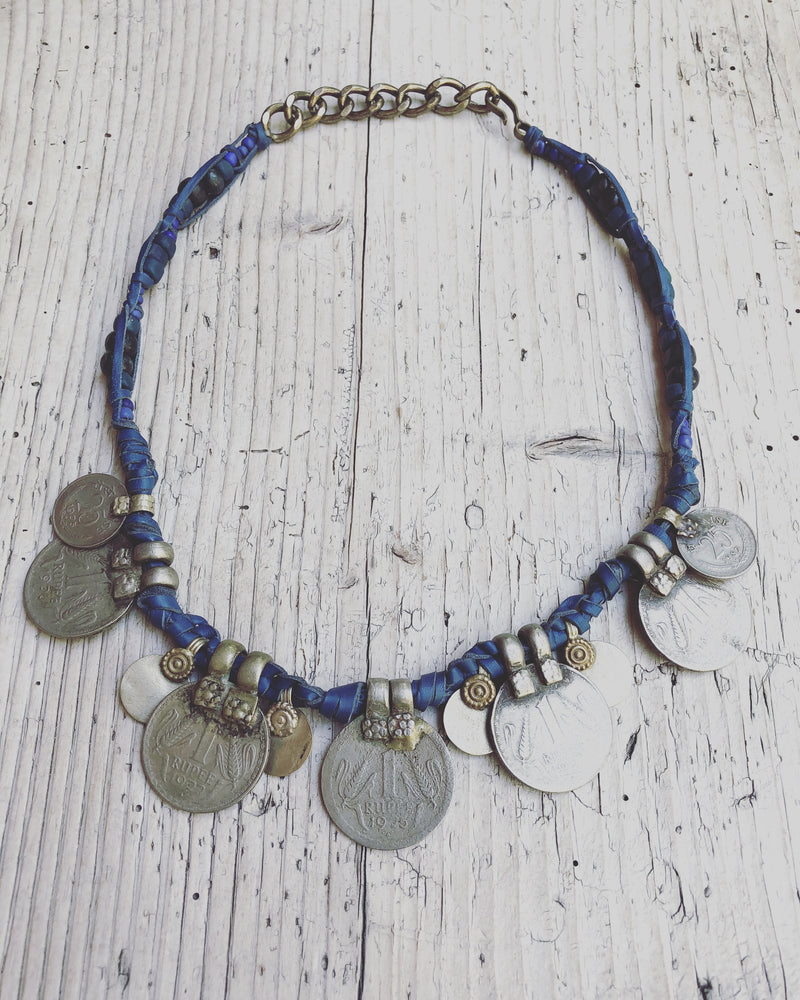 Republic of You - Ocean Blue - Blue leather tribal necklace featuring vintage gypsy coins and charms.