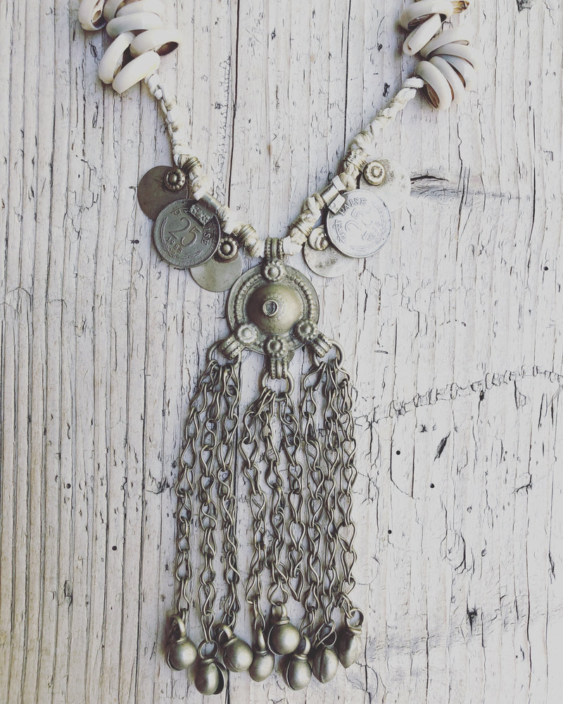 Republic of You - Ocean Breeze - Bohemian white leather necklace with vintage silver gypsy pendant, shells and coins.