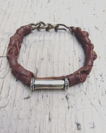 Republic of You - Urban Tribe - Brown leather unisex bracelet with tribal silver barrel bead